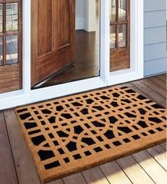 Saral Home Beige & Black Coir 48 X 36 Inch Premium Quality Heavy Duty Door Mat