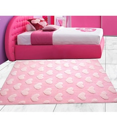 Saral Home Pink Microfibre 72 X 48 Inch Soft Baby Design Tufted Floor Area Rug - 1599946