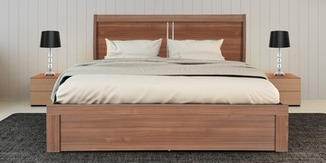Sansa Queen Size Bed With Box Storage In Walnut Finish