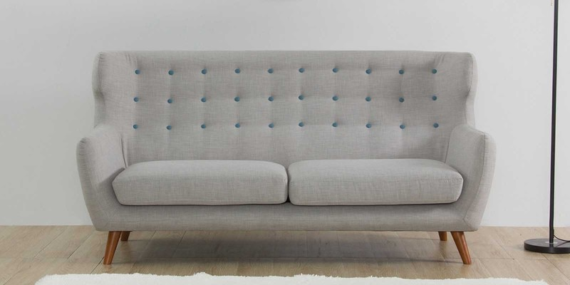 San Juan Three Seater Sofa in Light Grey Colour by CasaCraft