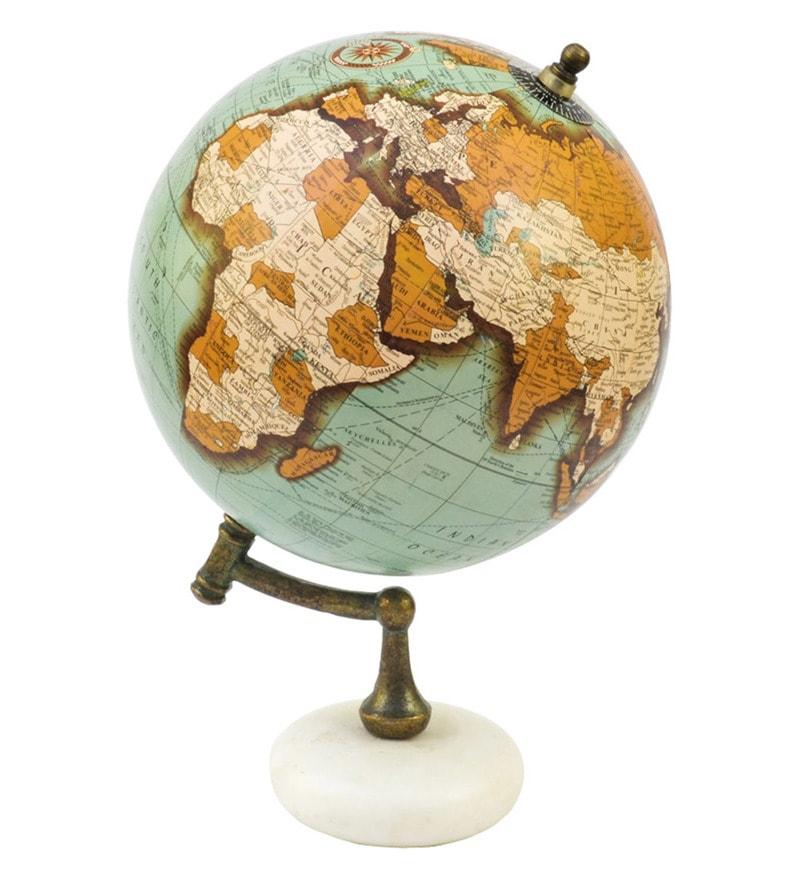 Saga Green Acrylic & Wood Premium Large Antique Vintage Style Globe with Marble Base by Casa Decor