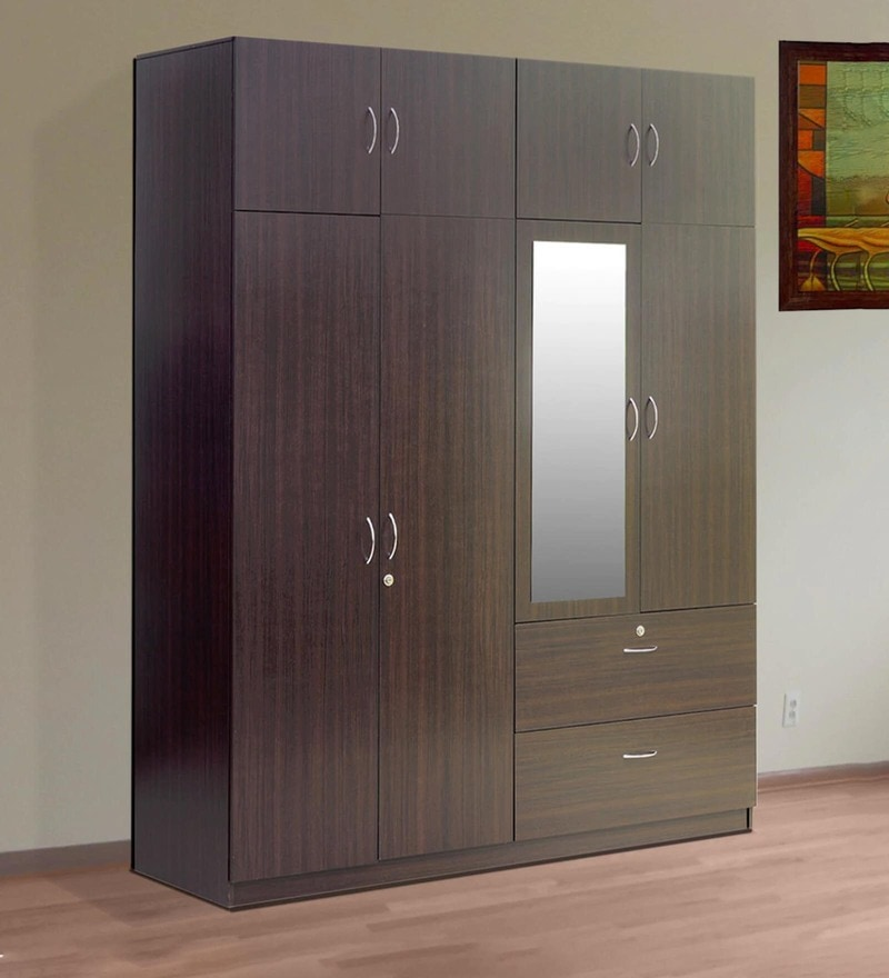 Sakura Four Door Wardrobe with Loft in Wenge Finish by Mintwud
