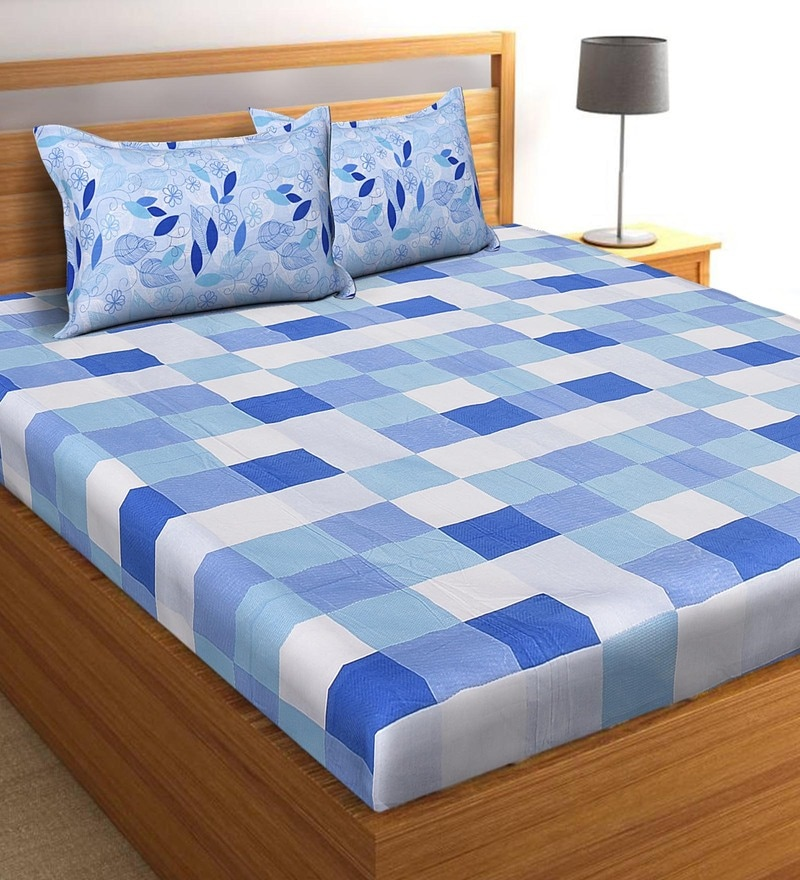 Salona Bichona Blue 100 % Cotton 108 x 108 Inch King Bedsheet with Two Pillow Cover