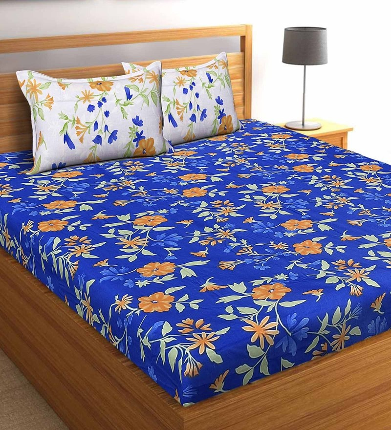 Salona Bichona Blue 100 % Cotton 87 x 98 Inch Double Bedsheet with Two Pillow Cover
