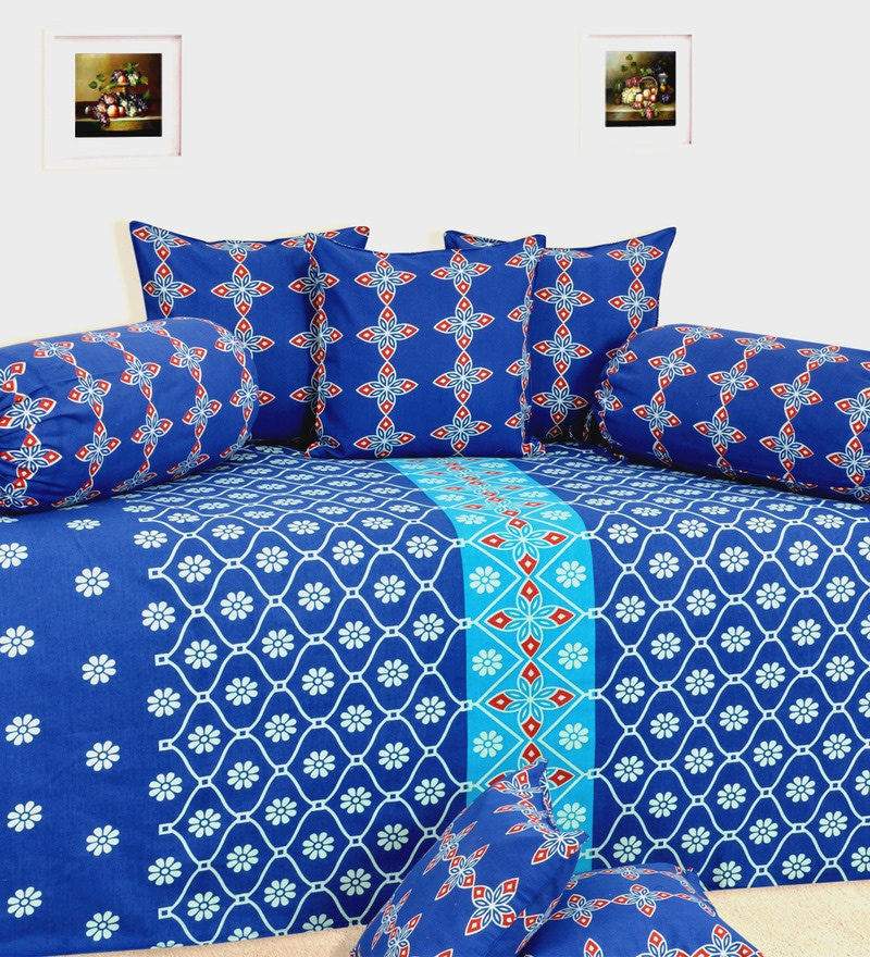 Blue Cotton Geometric Diwan Set - Set of 8 by Salona Bichona