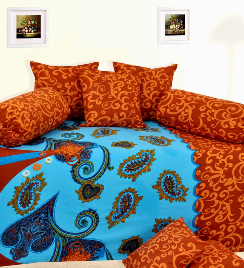 Blue & Brown Cotton Diwan Set - Set of 8 by Salona Bichona