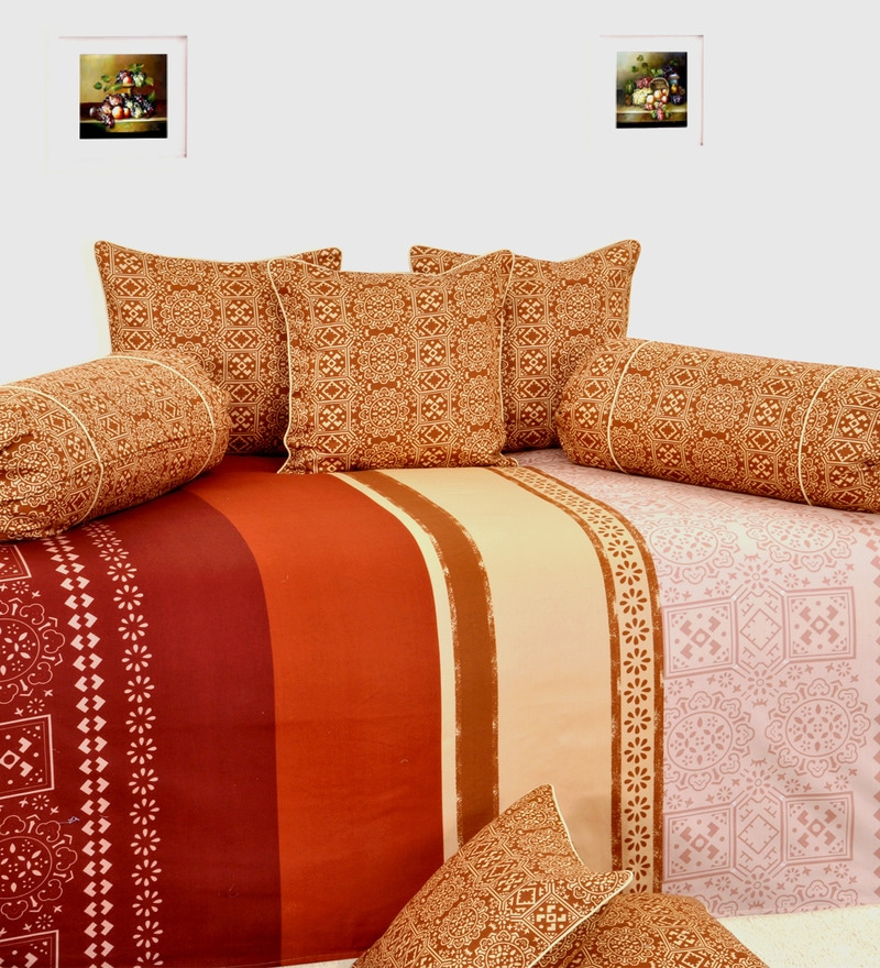 Brown Cotton Stripes Diwan Set - Set of 6 by Salona Bichona