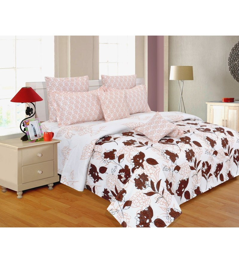 Pink Cotton Floral King Bed Sheet Set (with Pillow Covers) by Salona Bichona