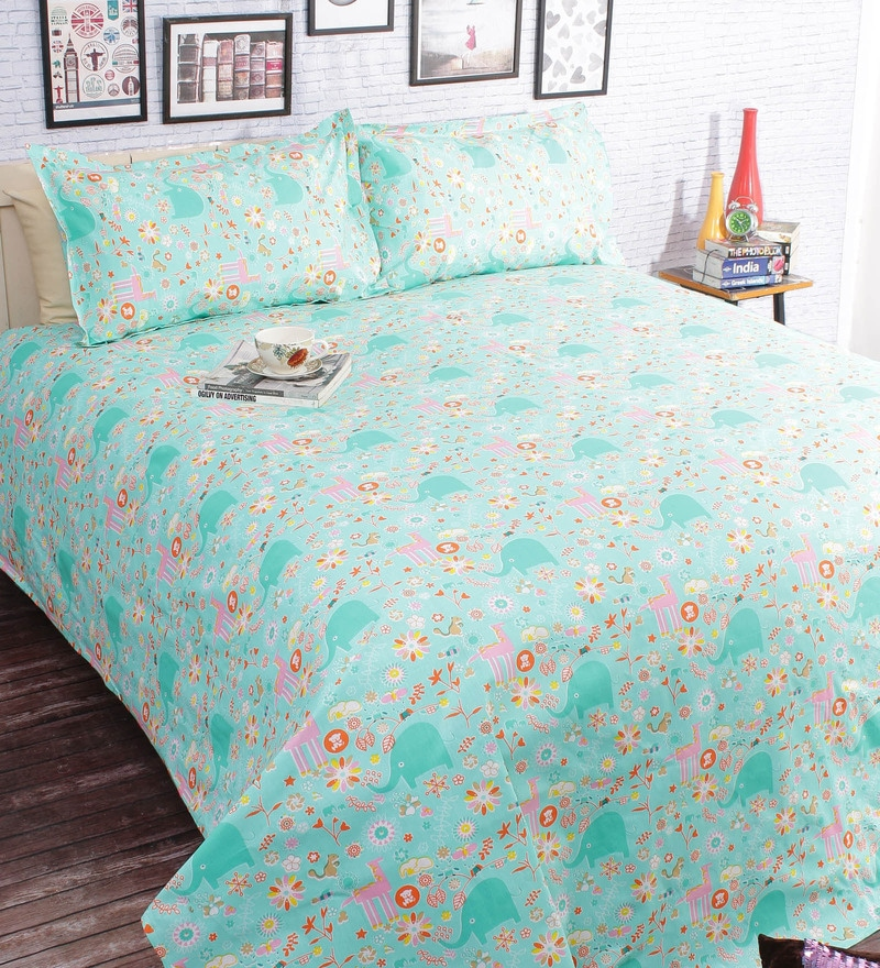 Green 100% Cotton Queen Size Bedsheet - Set of 3 by Salona Bichona