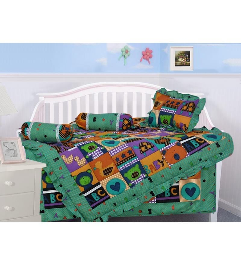 5-Piece Cotton Crib Bedding Set in Green Colour (1 Dohar + 1 Gaddi + 2 Bolsters + 1 Pillow) by Salona Bichona