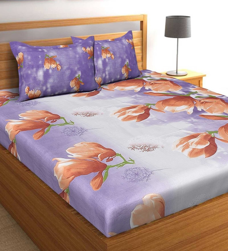 Salona Bichona Purple 100 % Cotton 87 x 98 Inch Double Bedsheet with Two Pillow Cover