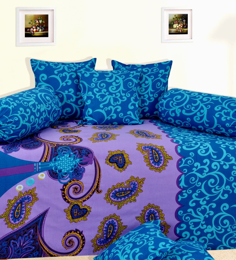 Purple Cotton Abstract Motifs Diwan Set - Set of 8 by Salona Bichona
