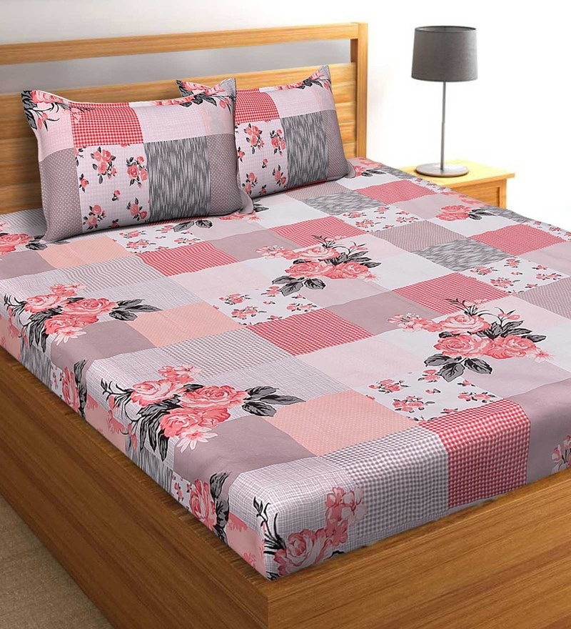 Salona Bichona Red 100 % Cotton 108 x 108 Inch King Bedsheet with Two Pillow Cover