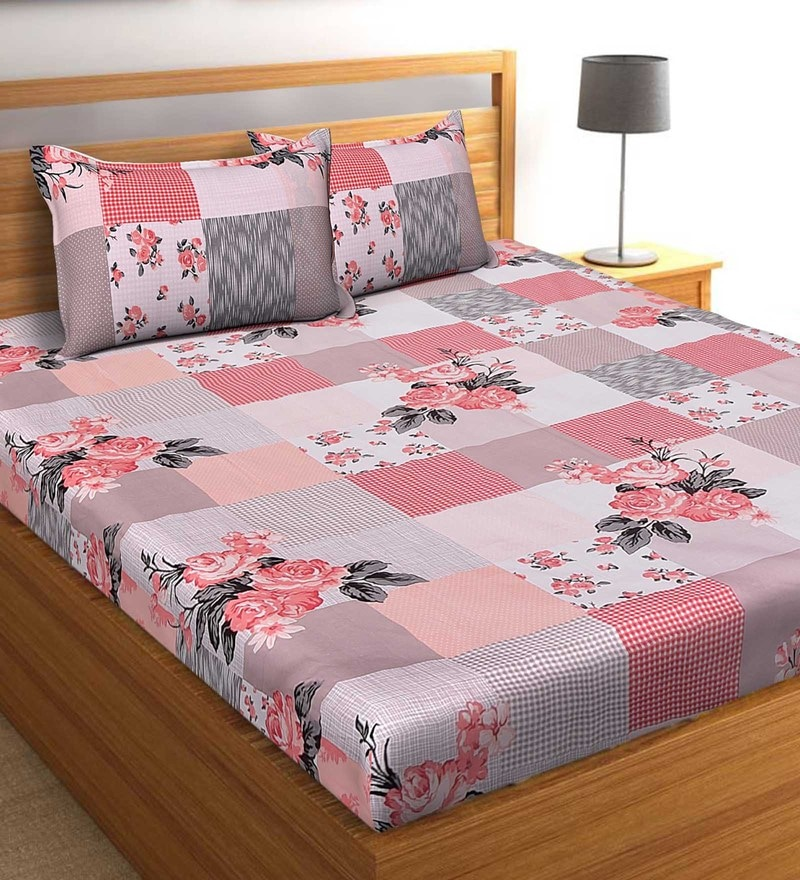 Salona Bichona Red 100 % Cotton 87 x 98 Inch Double Bedsheet with Two Pillow Cover