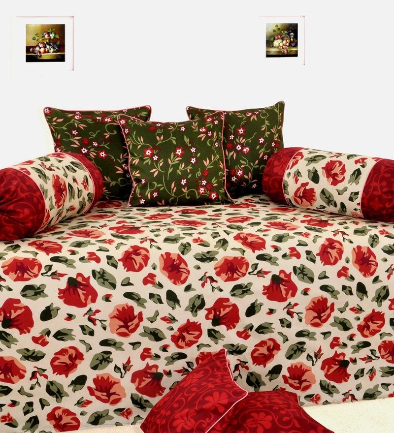 Salona Bichona Red Cotton Diwan Set - Set of 6