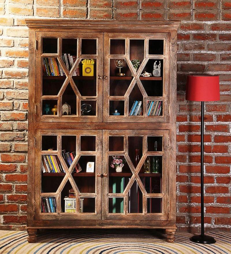 Cooper Book Case Cum Cabinet in Distress Finish by Bohemiana