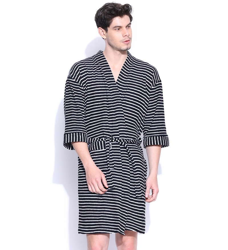 Black Stripe Cotton Long Sleeves Gents Bathrobe by Sand Dune