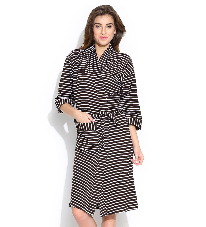 Brown Stripe Cotton Long Sleeves Ladies Bathrobe by Sand Dune