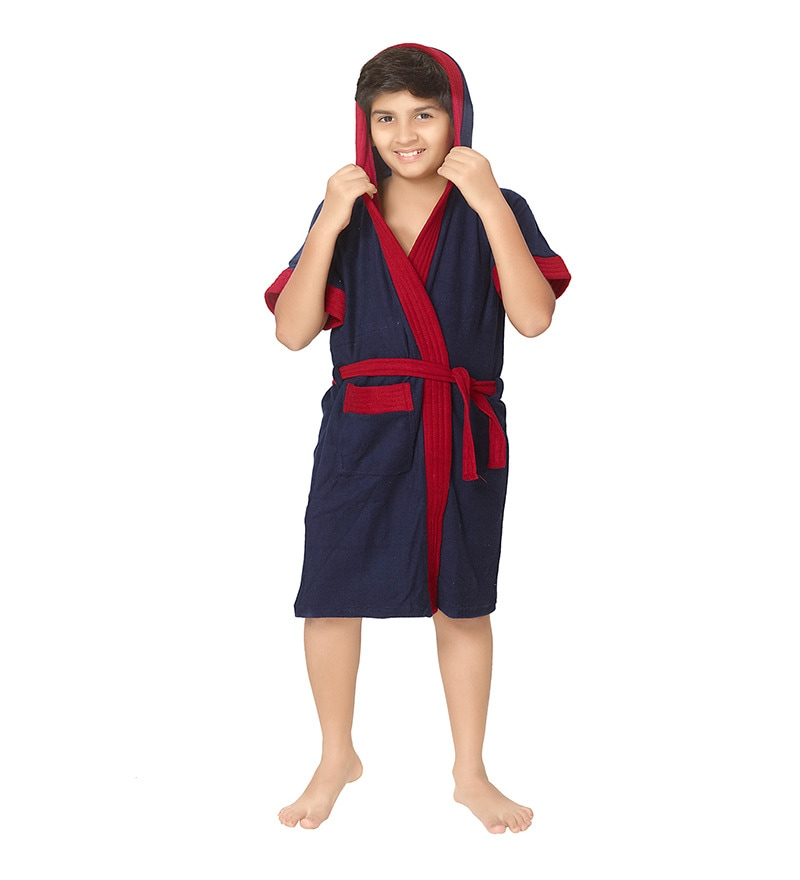 Navy Blue 8 Years Boys Bathrobe by Sand Dune