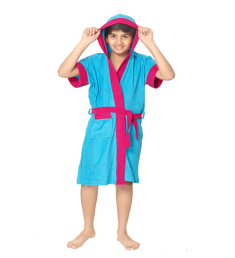 Robe Blue Terry Cotton 22X26 INCH Kids Bath Robe by Sand Dune