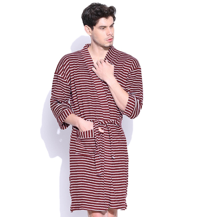 Maroon Cotton Long Sleeves Gents Bathrobe by Sand Dune