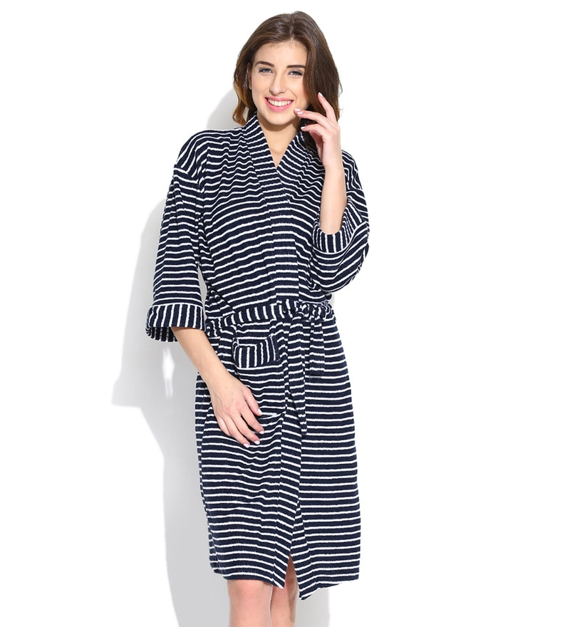 Navy Blue Stripe Cotton Long Sleeves Ladies Bathrobe by Sand Dune