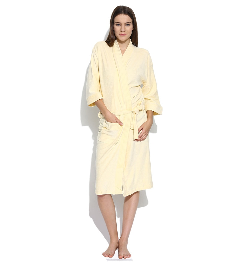 Off White Cotton Long Sleeves Unisex Bathrobe by Sand Dune