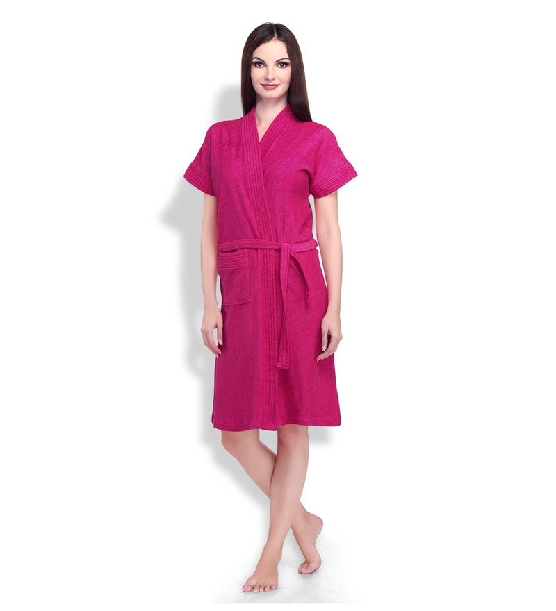 Pink Cotton Ladies Bathrobe by Sand Dune