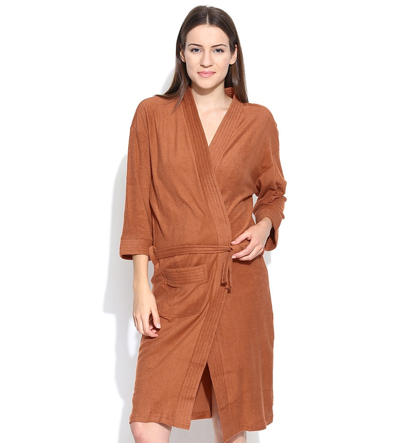 Rust Cotton Long Sleeves Unisex Bathrobe by Sand Dune