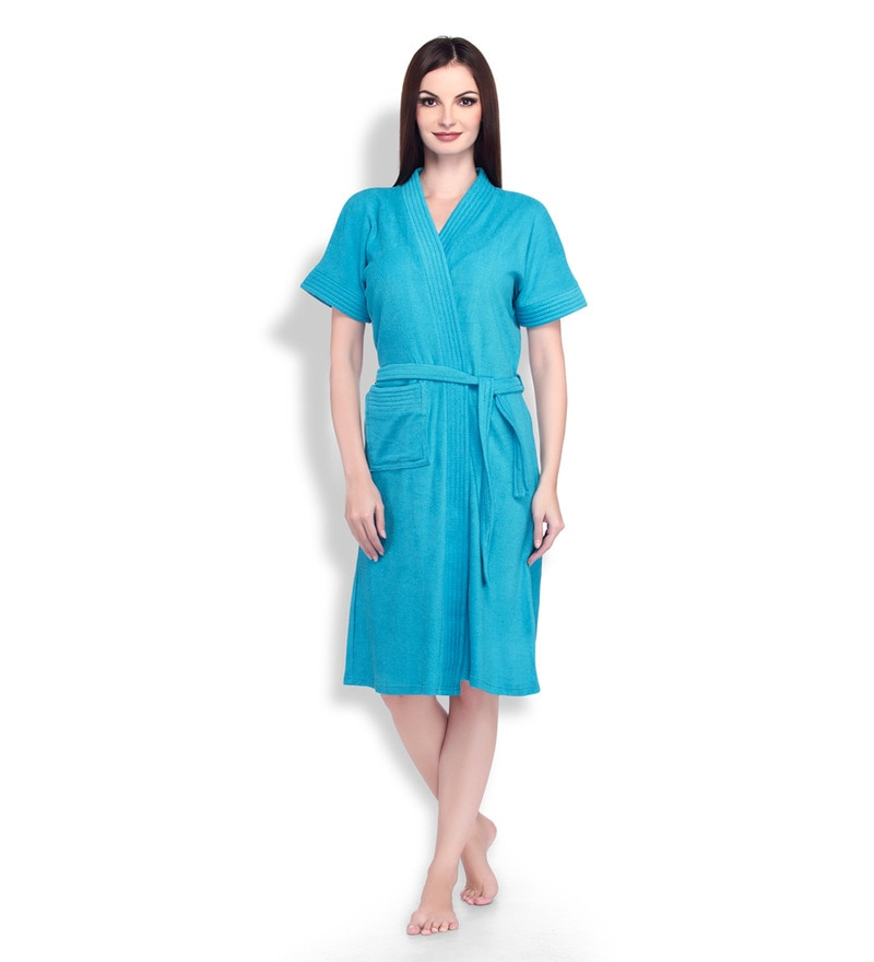Turquoise Cotton Ladies Bathrobe by Sand Dune