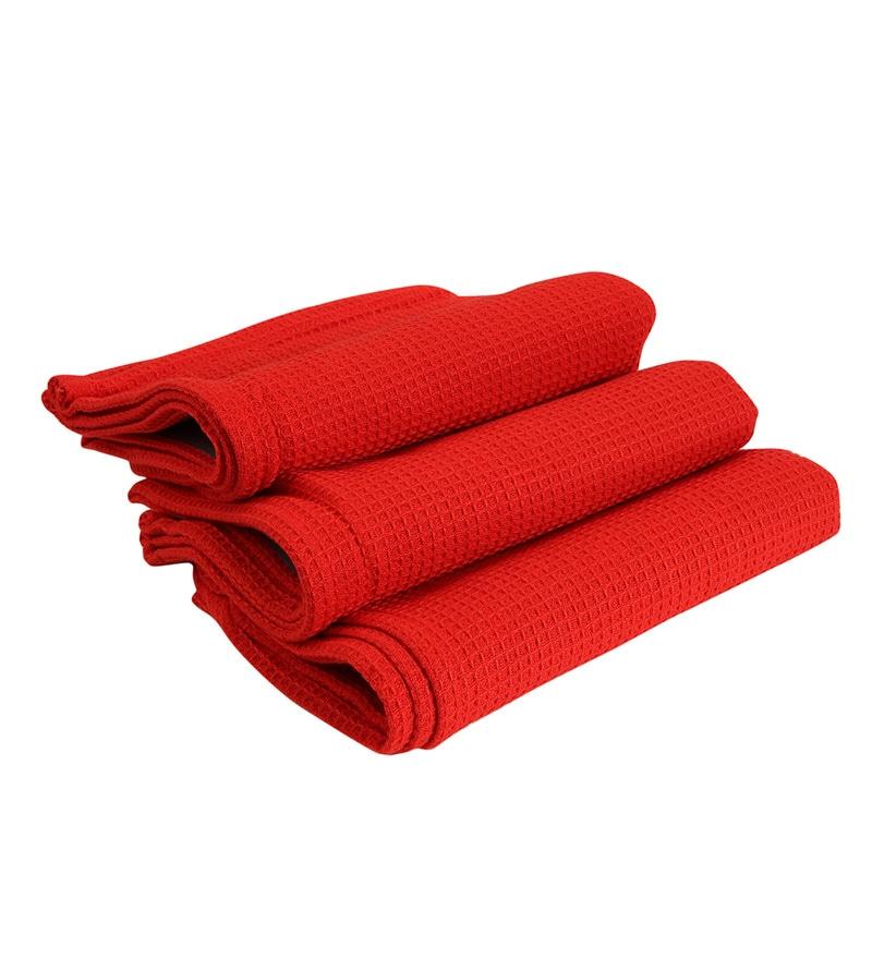 Sanjeev Kapoor Bon Appetit Scarlet Sunset Kitchen Towel - Set Of 3