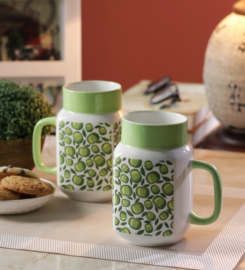 Sanjeev Kapoor Green Apple Bone China 550 ML Mason Mugs - Set of 2