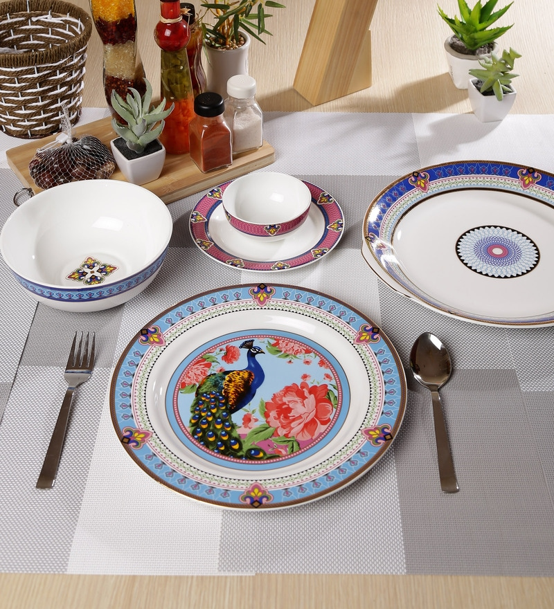 Mayura Collection Bone China Dinner Set - Set of 27 by Sanjeev Kapoor