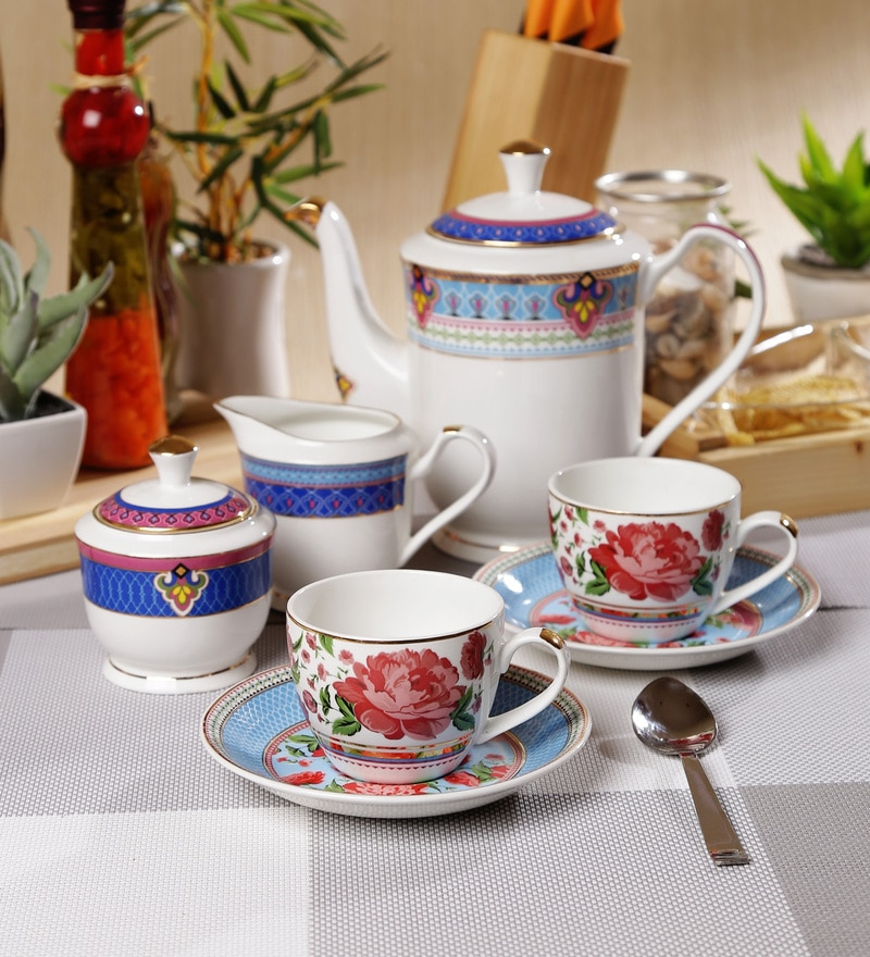 Sanjeev Kapoor Mayura Collection Bone China Tea Set - Set of 15