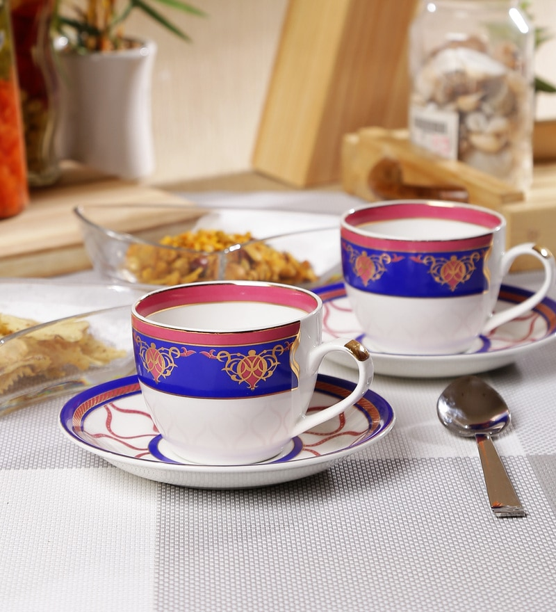 Sanjeev Kapoor Noor Collection Bone China 140 ML Cup & Saucer - Set of 6