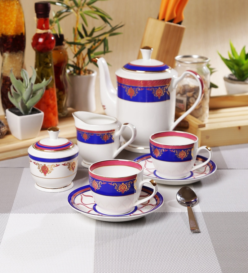 Sanjeev Kapoor Noor Collection Bone China Tea Set - Set of 15