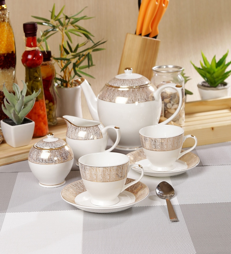 Sanjeev Kapoor Prism Collection Bone China Tea Set - Set of 15