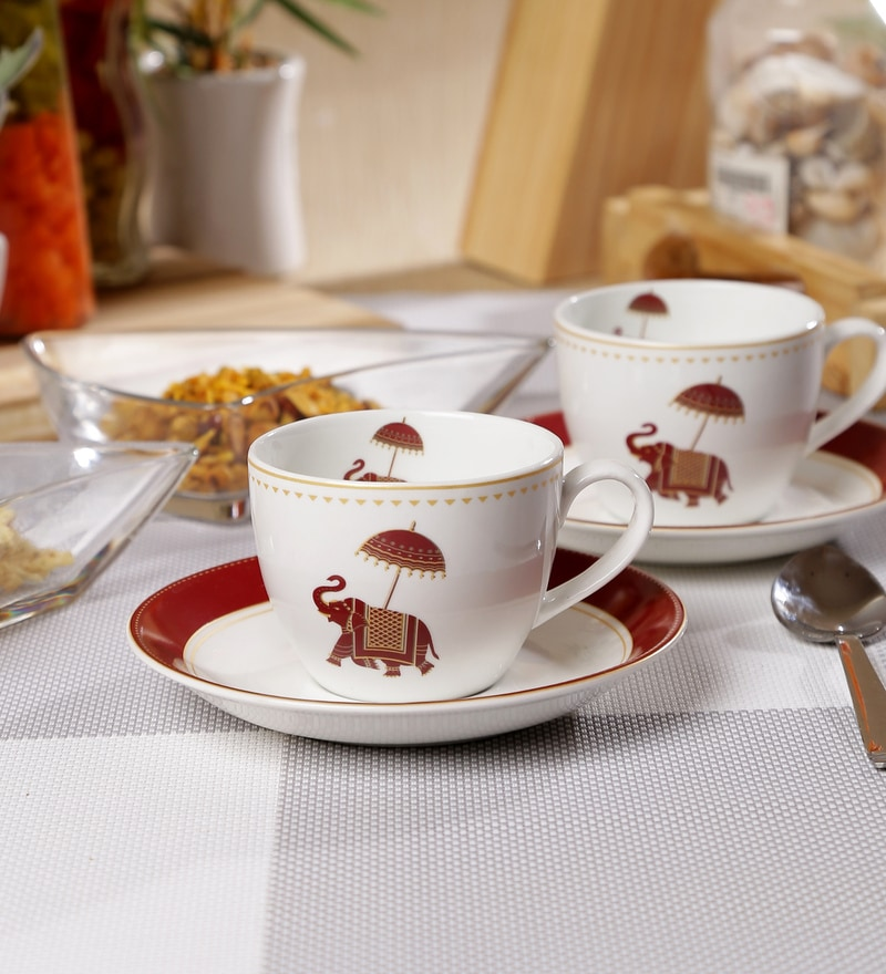Sanjeev Kapoor Utsav Collection Bone China 140 ML Cup & Saucer - Set of 6
