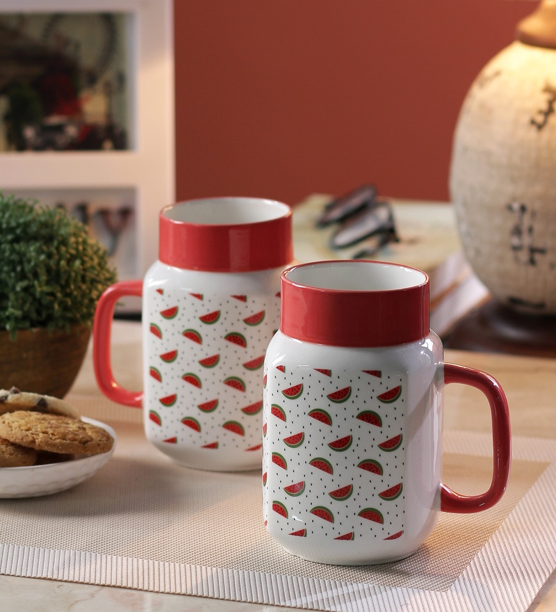 Sanjeev Kapoor Watermelon Bone China 550 ML Mason Mugs - Set of 2