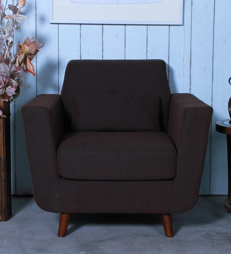 Santiago One Seater Sofa in Chestnut Brown Colour by CasaCraft
