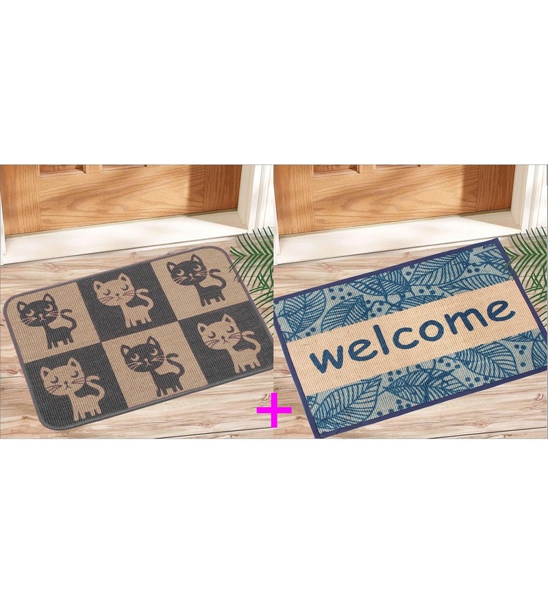 Multicolour Jute 24 x 20 Inch Anti Slip Jute Door Mat - Set of 2 by Saral Home
