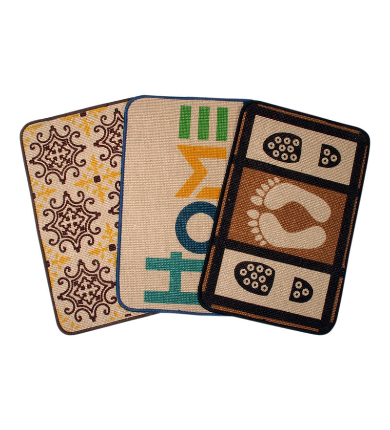Multicolour Jute 24 x 20 Inch Anti Slip Jute Door Mat - Set of 3 by Saral Home