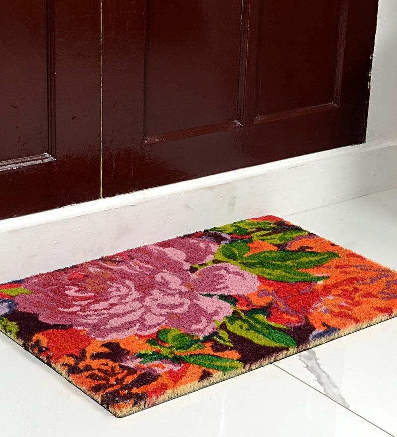 Multicolour Coir 24 x 16 Inch Premium Quality Flowery Printed Door Mat by Saral Home