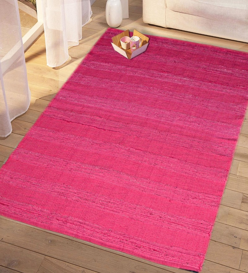 Pink Cotton 60 x 36 Inch Decorative Soft Handloom Made Chindi Rug by Saral Home