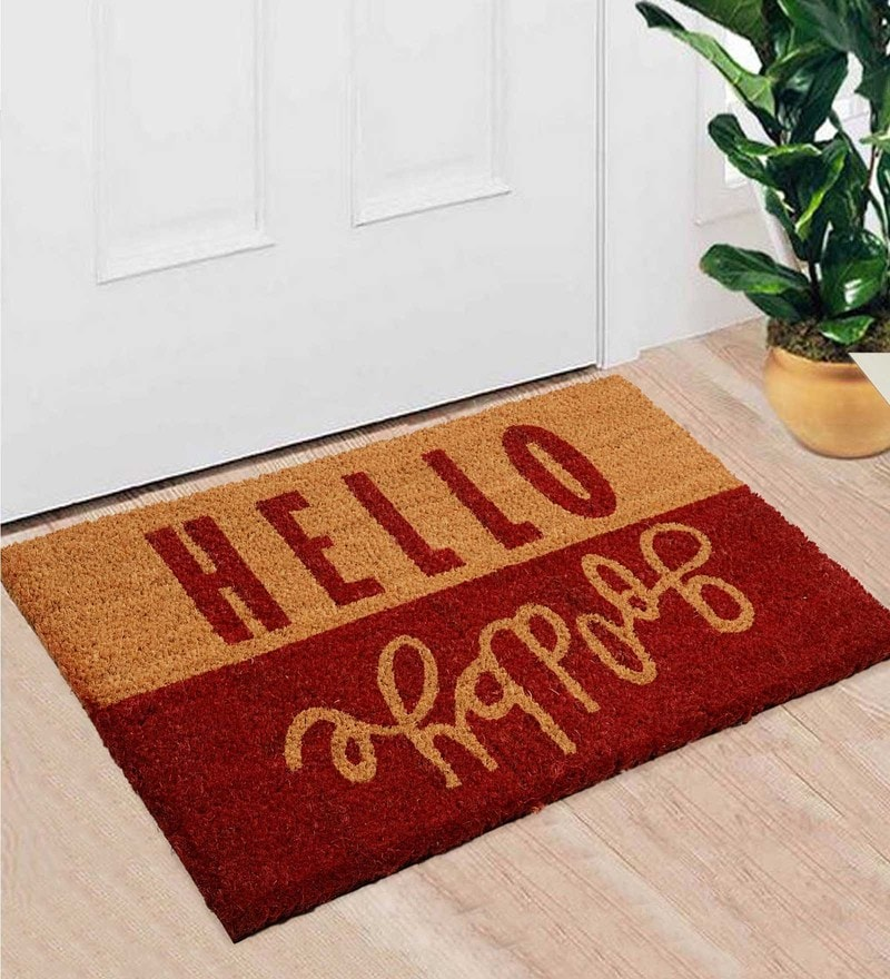 Red Coir 24 x 16 Inch Premium Quality Heavy Duty Door Mat by Saral Home
