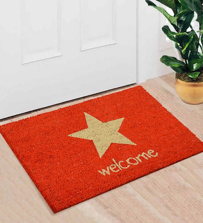 Red Coir 24 x 16 Inch Premium Quality Star Door Mat by Saral Home