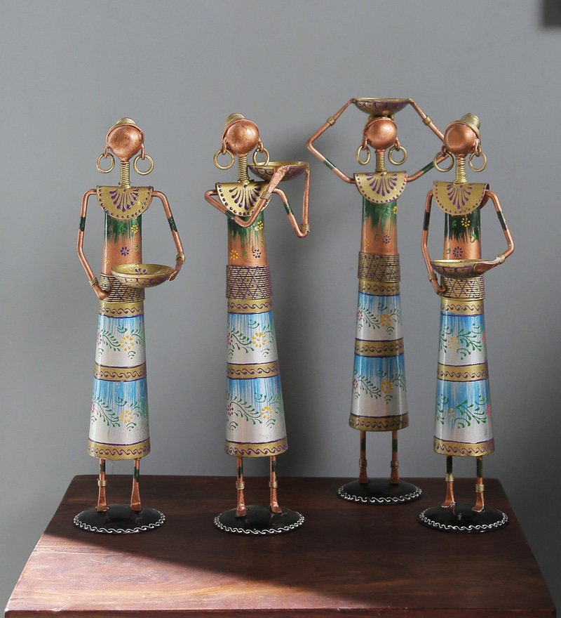 Multicolour Metal Painted Dolls Figurine - Set of 4 by Satyam International