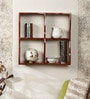 Brown Engineered Wood Wave Book Shelf by Home Sparkle