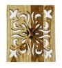 Divine Decor Brown Teak Wood 12 x 0.3 x 12 Inch Wall Clock