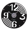 Black MDF 12 Inch Round Retro Record Look Wall Clock by Safal Quartz